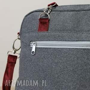 szare elegancka plecak torba listonoszka - tkanina