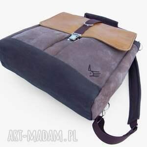 brązowe plecaki nubuk plecak / torba żółty-beżowy-brązo