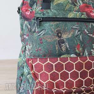 prezent święta zielone plecak torba listonoszka - pszczoły
