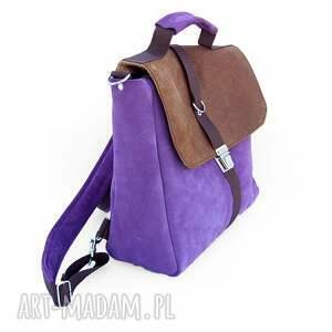 eleganckie plecaki skóra plecak / torba liliowo-brązowa