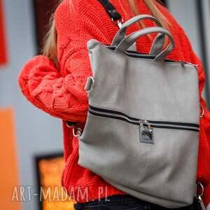 torba 2w1 plecak / 2 w 1 z szarej skóry