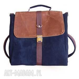 niepowtarzalne plecaki teczka plecak / torba granat-orzech