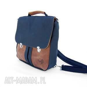 handmade plecaki tornister plecak / torba czarno -brązowa