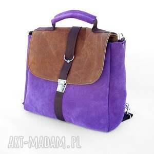 plecaki skóra plecak / torba liliowo-brązowa