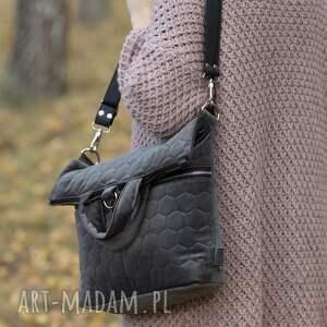 Plecak / torba 2 w 1 szary pikowany welur tapicerski welurowy