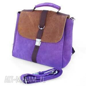 eleganckie plecaki plecak / torba liliowo-brązowa