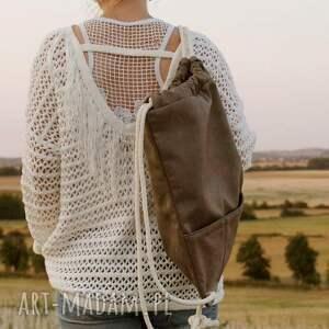 modne torba plecak vegan taupe