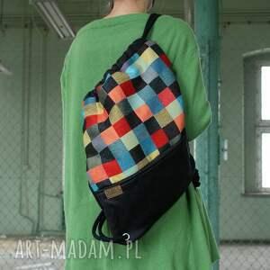 kolorowe plecak vegan mozaika czerń