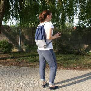 worek plecak vege troczek granat szary