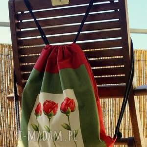 beżowe worek plecak / - red rose