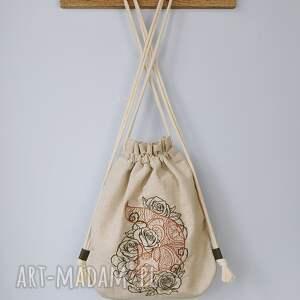 plecak worek mini lis w kwiatach