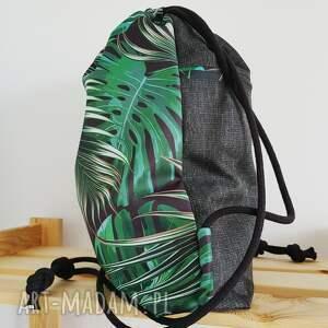 szare plecak worek - tropikalne