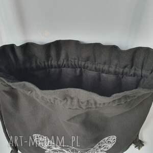 czarne worek plecak mini motyl