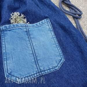 Zapetlona Nitka plecak worek jeans upcykling