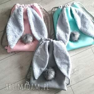 plecak worek szare króliczek