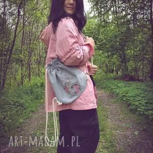 handmade haft plecak worek mini pastelowy