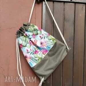 plecak plecaki zielone worek w kaktusy