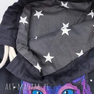 czarne plecaki kot plecak worek kosmiczny