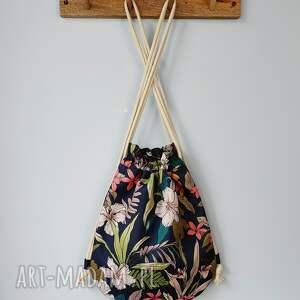 plecak niebieskie worek mini kwiaty