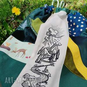 handmade plecak worek upcyklingowy z haftem