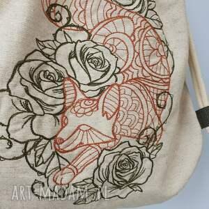 plecak pomarańczowe worek mini lis w kwiatach