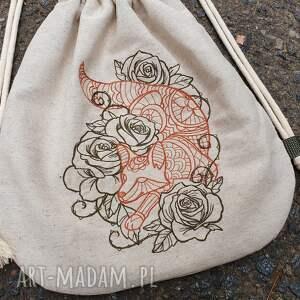 lisek plecak worek mini lis w kwiatach