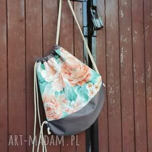 handmade romantyczny plecak worek kwiaty