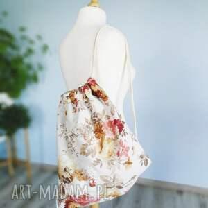 plecak plecaki czerwone worek vintge kwiaty