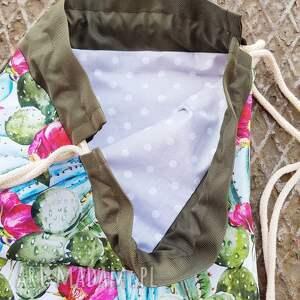 różowe plecaki worek plecak w kaktusy
