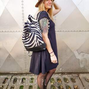hand made plecak zebra wegański unikatowy