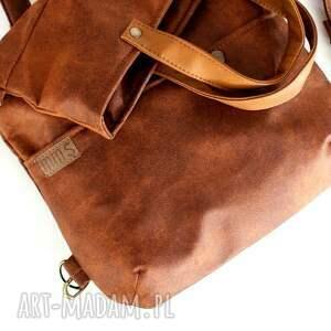 brązowe plecak 3w1 plecako - torba koniak vegan