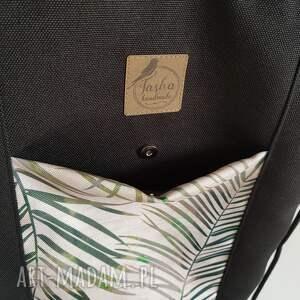 intrygujące palmy plecakotorba 2w1 - czarnobeżowa