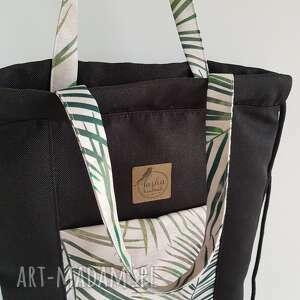 czarne plecak plecakotorba 2w1 - czarnobeżowa