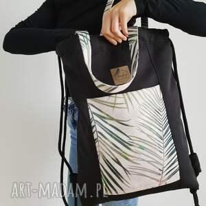 intrygujące torba plecakotorba 2w1 - czarnobeżowa