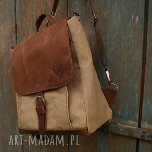 beżowe lniany plecak/teczka włóczykij orzechowa