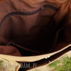 lniany plecak/teczka włóczykij orzechowa