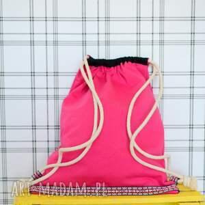 różowe plecaki bawełna worek aztec natural malinowy