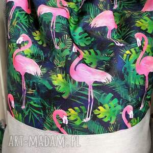 awangardowe worek plecak flamingi na granacie