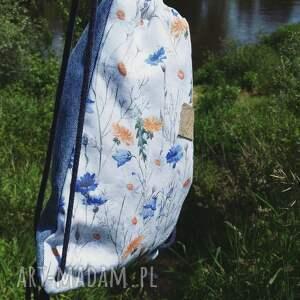 białe plecak worek jeans bawełna w polne