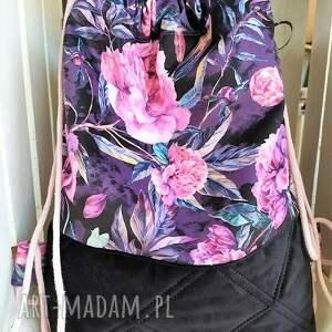 modne worek plecak welurowy w piwonie