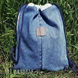 worek niebieskie plecak jeans bawełna w polne