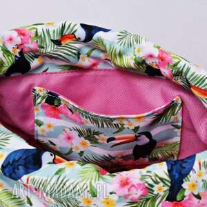 ręcznie robione plecakoworek worek plecak wodoodporny tukany z różową