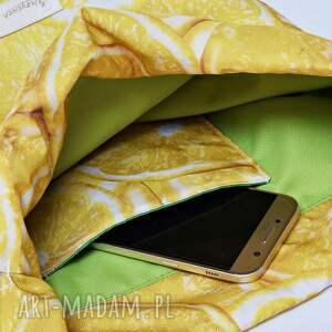 żółte workoplecak worek plecak wodoodporny cytryny z zieloną
