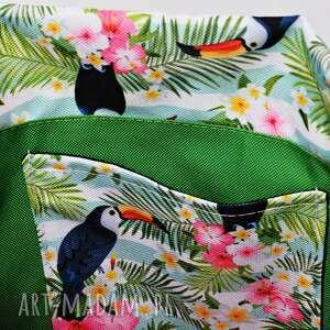 plecako worek plecak wodoodporny tukany z zieloną