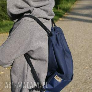 ręcznie zrobione torba plecak vege troczek granat