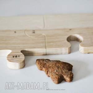 drewniane podkładki komplet podkładek puzzle