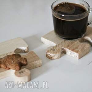 podkładki drewniane komplet podkładek puzzle