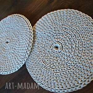 handmade podkładki komplet szarych podkładek