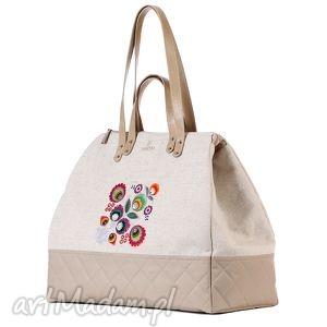 kolorowe podróżne podróż duża pojemna torba wykonana z beżowego