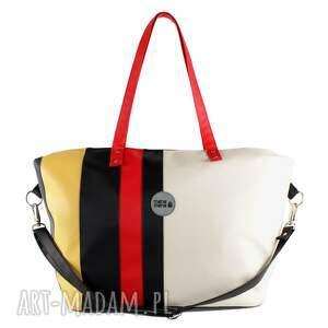 hand-made podróżne duża-torba weekendowa torba podróżna w paski
